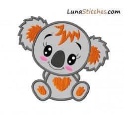 Baby Koala Girl Applique Embroidery Design
