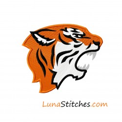 Tiger Face Side Fill Embroidery Design