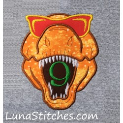 T-Rex Dinosaur Dino Head with Glasses Birthday Applique Embroidery Design