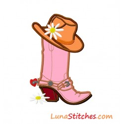 Cowgirl Hat on Boot Flowers Heart Applique Embroidery Design
