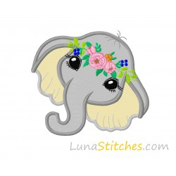 Elephant Face Flowers Applique Embroidery Design