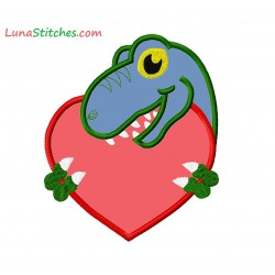 T-Rex Dinosaur with Heart Applique Embroidery Design
