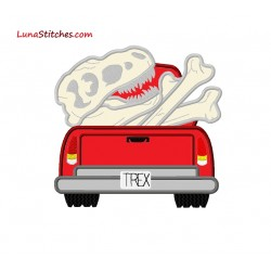 T-Rex Dinosaur Dino Bones in Truck Applique Embroidery Design