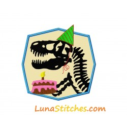 T-Rex Dinosaur Dino Birthday Cake Applique Embroidery Design