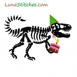 T-Rex Dinosaur Dino Birthday Cake fill Embroidery Design