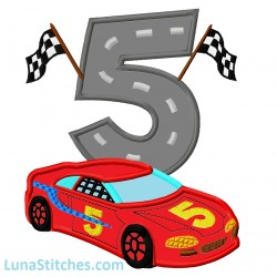 Race Car with Checkered Flags Number Five 5 Applique Embroidery Design