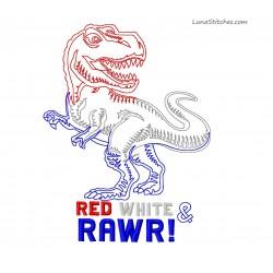 T-Rex Dinosaur Dino July 4th Bean Stitches Embroidery Design