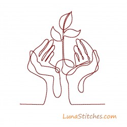 Hands holding Plant EarthDay Easy Bean Stitches Embroidery Design