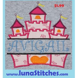 Split Princess Castle Applique Embroidery Design