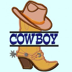 Split Cowboy Hat on Boot Applique Embroidery Design