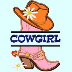 Split Cowgirl Hat on Boot Applique Embroidery Design