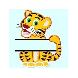 Split Cute Tiger Applique Embroidery Design