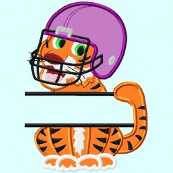 Split Cute Tiger with Helmet Applique Embroidery Design