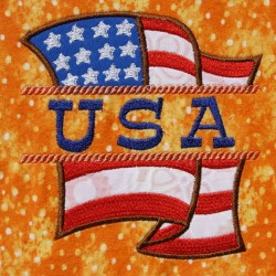 Split USA Flag Applique Embroidery Design