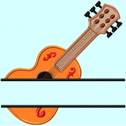 Split Guitar Applique Embroidery Design