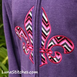 Split Fleur De Lis Embroidery Applique Design zip Hoodie