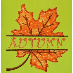 Split Autumn Leaf Applique Embroidery Design
