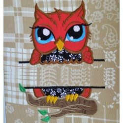 Split Owl on branch Applique Embroidery Design
