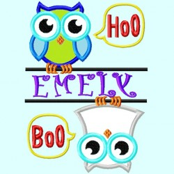 Split Owls Boo Hoo Applique Embroidery Design