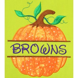 Split Pumpkin Applique Embroidery Design