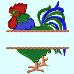Split Rooster Applique Embroidery Design