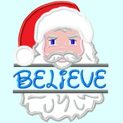 Split Santa Claus head APPLIQUE Embroidery Design