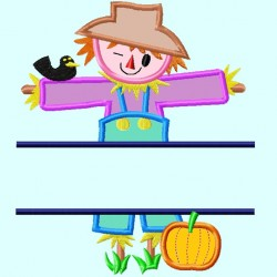 Split Scarecrow Applique Embroidery Design