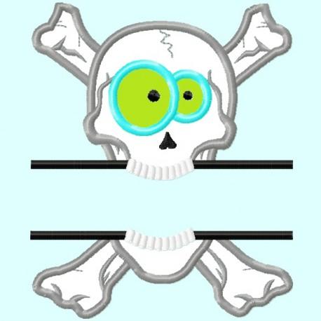 Split Skull Funny Eyes Applique Embroidery Design