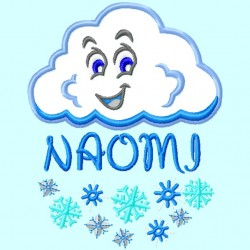 Split Snow Cloud Applique Embroidery Design