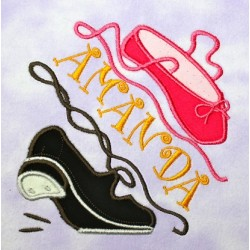 Split Tap and Ballerina Shoes APPLIQUE Embroidery Design