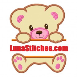 Split Teddy Bear Full Applique Embroidery Design