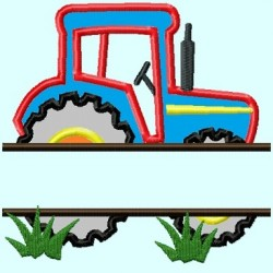 Split Red Tractor Applique Embroidery Design