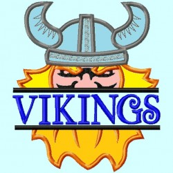 Split Viking Head Applique Embroidery Design