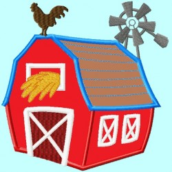 Barn Windmill Applique Embroidery Design
