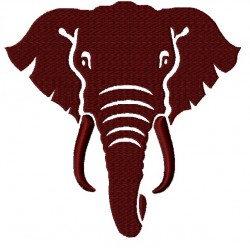 Elephant Face Silhouette fill Embroidery Design