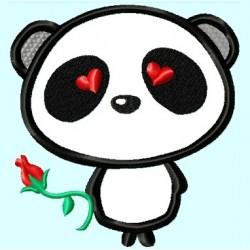 Cute Love Panda Bear with Rose