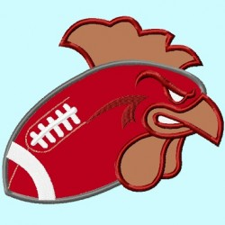Rooster head on Football
