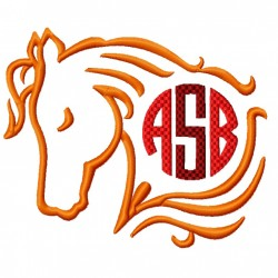 Horse Monogram Frame Embroidery Design