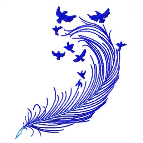 Feather and Birds Blue fill Embroidery Design