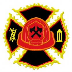 Firefighter Helmet and Maltese Cross Flames Applique Embroidery Design