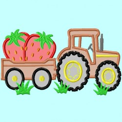 Tractor and wagon with Strawberries