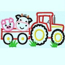 Tractor with Cow and Pig