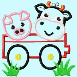 Wagon with Cow and Pig