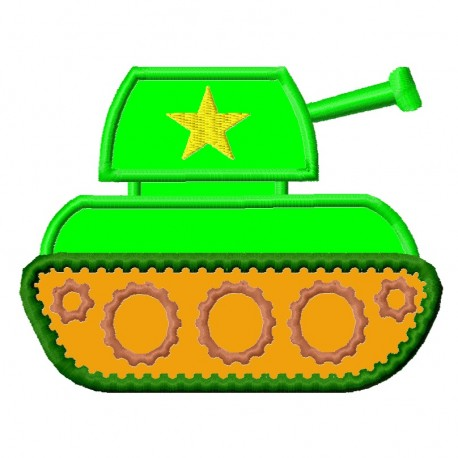 Green Tank Applique Embroidery Design