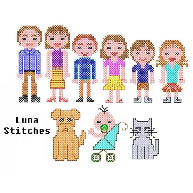 Cross Stitch Stick People Family Lunastitches Com