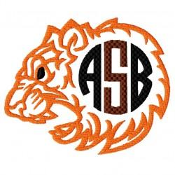 Tiger Head Monogram Frame Embroidery Design