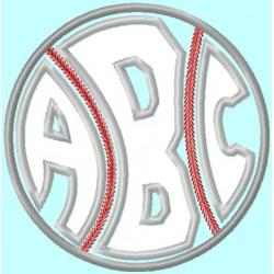 Baseball or Softball round Monogram Font Set