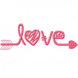 LOVE Arrow fill Embroidery Design
